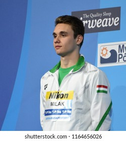 Budapest, Hungary - Jul 29, 2017. Silver medalist MILAK Kristof (HUN) at the Victory Ceremony of the Men 100m Butterfly. FINA Swimming World Championship.