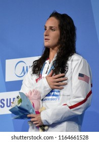 Budapest, Hungary - Jul 29, 2017. Bronze medalist SMITH Leah (USA) at the Victory Ceremony of the Women 800m Butterfly. FINA Swimming World Championship.