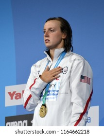 Budapest, Hungary - Jul 29, 2017. The winner LEDECKY Katie (USA) at the Victory Ceremony of the Women 800m Butterfly. FINA Swimming World Championship.