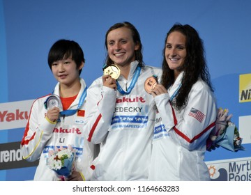 Budapest, Hungary - Jul 29, 2017. LI Bingjie (CHN), the winner LEDECKY Katie (USA) and SMITH Leah (USA) at the Victory Ceremony of the Women 800m Butterfly. FINA Swimming World Championship.