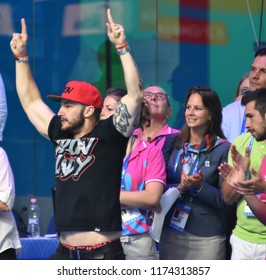 Budapest, Hungary - Jul 30, 2017. Shane TUSUP (USA) coach of swimmer Katinka HOSSZU (HUN) during the 400m Individual Medley Final. FINA Swimming World Championship was held in Duna Arena.