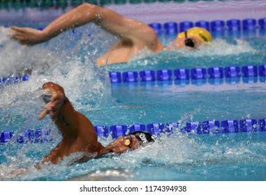 Budapest, Hungary - Jul 30, 2017. Competitive swimmer DETTI Gabriele (ITA) and HORTON Mack (AUS) in the 1500m Freestyle Final. FINA Swimming World Championship was held in Duna Arena.
