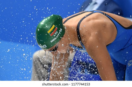 Budapest, Hungary - Jul 30, 2017. Competitive swimmer MEILUTYTE Ruta (LTU) in the 50m Breaststroke Final. FINA Swimming World Championship was held in Duna Arena.