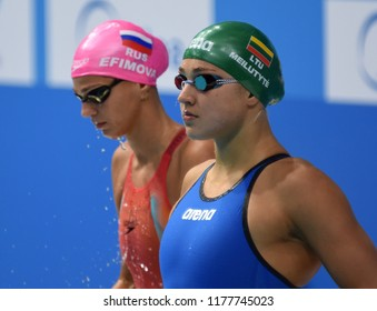 Budapest, Hungary - Jul 30, 2017. Competitive swimmer MEILUTYTE Ruta (LTU) and EFIMOVA Yuliya (RUS) in the 50m Breaststroke Final. FINA Swimming World Championship was held in Duna Arena.