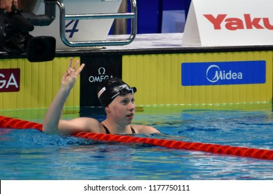 Budapest, Hungary - Jul 30, 2017. Competitive swimmer KING Lilly (USA) in the 50m Breaststroke Final. FINA Swimming World Championship was held in Duna Arena.