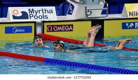 Budapest, Hungary - Jul 30, 2017. Competitive swimmer KING Lilly (USA) and MEILI Katie (USA) after the 50m Breaststroke Final. FINA Swimming World Championship was held in Duna Arena.