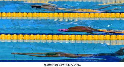 Budapest, Hungary - Jul 30, 2017. MEILUTYTE Ruta (LTU) and EFIMOVA Yuliya (RUS) swimming in the 50m Breaststroke Final. FINA Swimming World Championship was held in Duna Arena.