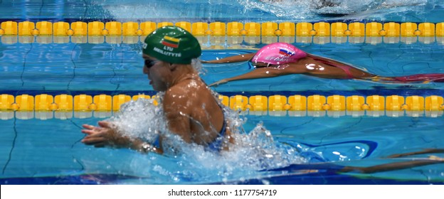 Budapest, Hungary - Jul 30, 2017. MEILUTYTE Ruta (LTU) and EFIMOVA Yuliya (RUS) swimming in the 50m Breaststroke Final. FINA Swimming World Championship was held in Duna Arena.