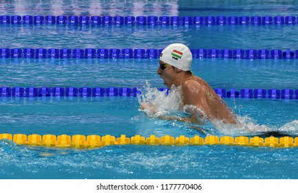 Budapest, Hungary - Jul 30, 2017. Competitive swimmer VERRASZTO David (HUN) in the 400m Individual Medley Final. FINA Swimming World Championship was held in Duna Arena.