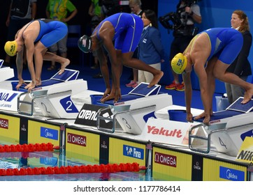 Budapest, Hungary - Jul 30, 2017. SJOSTROM Sarah (SWE), MANUEL Simone (USA), CAMPBELL Bronte (AUS) in the 50m Freestyle Final. FINA Swimming World Championship was held in Duna Arena.