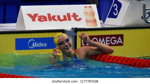 Budapest, Hungary - Jul 30, 2017. Competitive swimmer SJOSTROM Sarah (SWE) in the 50m Freestyle Final. FINA Swimming World Championship was held in Duna Arena.