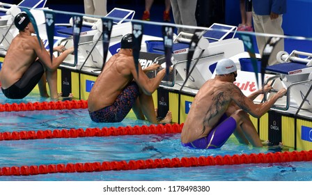 Budapest, Hungary - Jul 30, 2017. LACOURT Camille (FRA), GREVERS Matt (USA) and RESS Justin (USA) in the 50m Backstroke Final. FINA Swimming World Championship was held in Duna Arena.