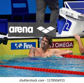 Budapest, Hungary - Jul 30, 2017. Competitive swimmer LACOURT Camille (FRA) in the 50m Backstroke Final. FINA Swimming World Championship was held in Duna Arena.
