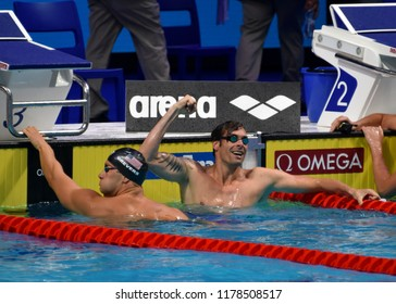 Budapest, Hungary - Jul 30, 2017. Competitive swimmer LACOURT Camille (FRA) and GREVERS Matt (USA) after the 50m Backstroke Final. FINA Swimming World Championship was held in Duna Arena.
