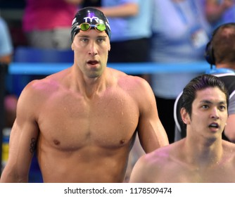 Budapest, Hungary - Jul 30, 2017. Competitive swimmer GREVERS Matt (USA) after the 50m Backstroke Final. FINA Swimming World Championship was held in Duna Arena.