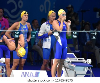 Budapest, Hungary - Jul 30, 2017. Team Sweden (LINDBORG Ida, JOHANSSON Jennie, SJOSTROM Sarah, COLEMAN Michelle) in the 4x100m Medley Relay Final. FINA Swimming World Championship.