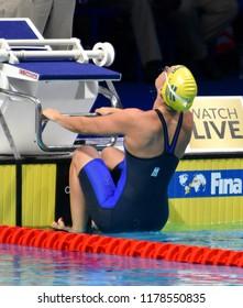 Budapest, Hungary - Jul 30, 2017. Swimmer LINDBORG Ida (SWE) in the Women 4x100m Medley Relay Final. FINA Swimming World Championship.