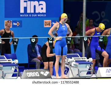Budapest, Hungary - Jul 30, 2017. Team Australia (SEEBOHM Emily, MCKEOWN Taylor, MCKEON Emma, CAMPBELL Bronte) in the 4x100m Medley Relay Final. FINA Swimming World Championship was held in Duna Arena
