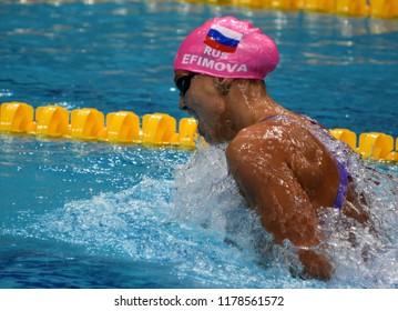 Budapest, Hungary - Jul 30, 2017. EFIMOVA Yuliya (RUS) in the Women 4x100m Medley Relay Final. FINA Swimming World Championship was held in Duna Arena.
