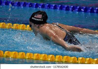 Budapest, Hungary - Jul 30, 2017. WORRELL Kelsi (USA) in the Women 4x100m Medley Relay Final. FINA Swimming World Championship was held in Duna Arena.