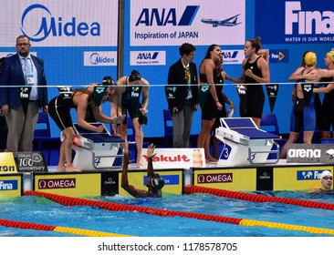 Budapest, Hungary - Jul 30, 2017. Team USA (BAKER Kathleen, KING Lilly, WORRELL Kelsi, MANUEL Simone) win the Women 4x100m Medley Relay Final. FINA Swimming World Championship was held in Duna Arena.