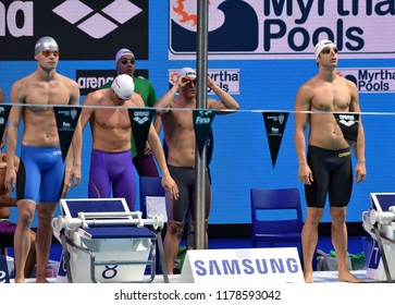 Budapest, Hungary - Jul 30, 2017. Team Hungary (BOHUS Richard, GYURTA Daniel, MILAK Kristof, KOZMA Dominik) in Men 4x100m Medley Relay Final. FINA Swimming World Championship was held in Duna Arena