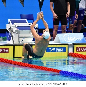 Budapest, Hungary - Jul 30, 2017. BOHUS Richard (HUN) in the Men 4x100m Medley Relay Final. FINA Swimming World Championship was held in Duna Arena.