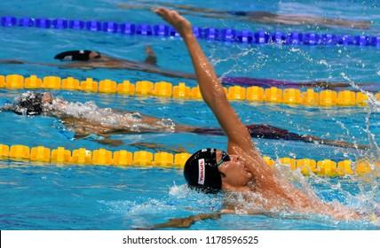 Budapest, Hungary - Jul 30, 2017. IRIE Ryosuke (JPN) in the Men 4x100m Medley Relay Final. FINA Swimming World Championship was held in Duna Arena.