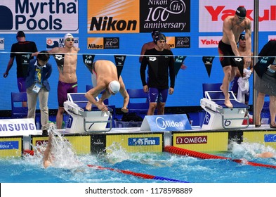 Budapest, Hungary - Jul 30, 2017. GYURTA Daniel (HUN) and MILAK Kristof (HUN) in the Men 4x100m Medley Relay Final. FINA Swimming World Championship was held in Duna Arena.