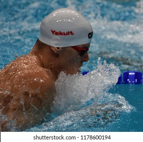 Budapest, Hungary - Jul 30, 2017. GYURTA Daniel (HUN) in the Men 4x100m Medley Relay Final. FINA Swimming World Championship was held in Duna Arena.