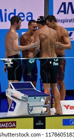 Budapest, Hungary - Jul 30, 2017. Team USA (GREVERS Matt, CORDES Kevin, DRESSEL Caeleb Remel, ADRIAN Nathan) in the Men 4x100m Medley Relay Final. FINA Swimming World Championship.