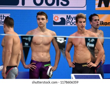 Budapest, Hungary - Jul 30, 2017. Team Hungary (BOHUS Richard, GYURTA Daniel, MILAK Kristof, KOZMA Dominik) in Men 4x100m Medley Relay Final. FINA Swimming World Championship was held in Duna Arena.