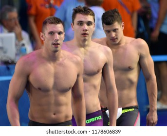 Budapest, Hungary - Jul 30, 2017. Team Hungary (GYURTA Daniel, MILAK Kristof, KOZMA Dominik) in Men 4x100m Medley Relay Final. FINA Swimming World Championship was held in Duna Arena.