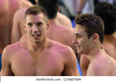 Budapest, Hungary - Jul 30, 2017. Team Hungary (MILAK Kristof, KOZMA Dominik) in Men 4x100m Medley Relay Final. FINA Swimming World Championship was held in Duna Arena.