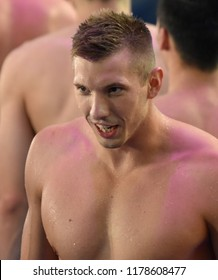 Budapest, Hungary - Jul 30, 2017. KOZMA Dominik (HUN) after the Men 4x100m Medley Relay Final. FINA Swimming World Championship was held in Duna Arena.