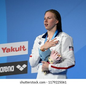 Budapest, Hungary - Jul 30, 2017. Gold medalist KING Lilly (USA) at the Victory Ceremony of the Women 50m Breaststroke. FINA Swimming World Championship was held in Duna Arena.