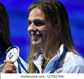 Budapest, Hungary - Jul 30, 2017. Silver medalist EFIMOVA Yuliya (RUS) at the Victory Ceremony of the Women 50m Breaststroke. FINA Swimming World Championship was held in Duna Arena.