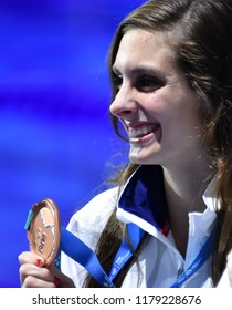Budapest, Hungary - Jul 30, 2017. Bronze medalist MEILI Katie (USA) at the Victory Ceremony of the Women 50m Breaststroke. FINA Swimming World Championship was held in Duna Arena.