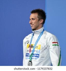 Budapest, Hungary - Jul 30, 2017. Silver medalist VERRASZTO David (HUN) at the Victory Ceremony of the Men 400m Individual Medley. FINA Swimming World Championship.