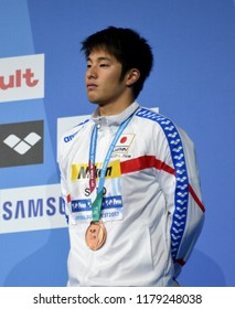 Budapest, Hungary - Jul 30, 2017. Bronze medalist SETO Daiya (JPN) at the Victory Ceremony of the Men 400m Individual Medley. FINA Swimming World Championship.
