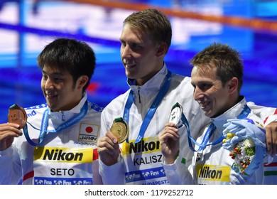 Budapest, Hungary - Jul 30, 2017. VERRASZTO David (HUN), winner KALISZ Chase (USA) and SETO Daiya (JPN) at the Victory Ceremony of the Men 400m Individual Medley. FINA Swimming World Championship.