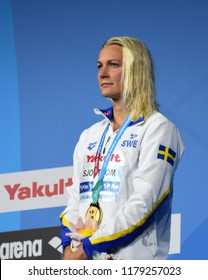 Budapest, Hungary - Jul 30, 2017. Gold medalist SJOSTROM Sarah (SWE) at the Victory Ceremony of the Women 50m Freestyle. FINA Swimming World Championship.
