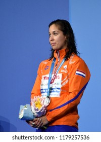 Budapest, Hungary - Jul 30, 2017. Silver medalist KROMOWIDJOJO Ranomi (NED) at the Victory Ceremony of the Women 50m Freestyle. FINA Swimming World Championship.