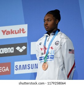Budapest, Hungary - Jul 30, 2017. Bronze medalist MANUEL Simone (USA) at the Victory Ceremony of the Women 50m Freestyle. FINA Swimming World Championship.
