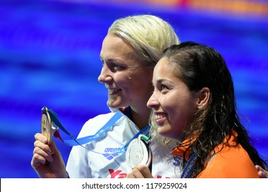 Budapest, Hungary - Jul 30, 2017. Gold medalist SJOSTROM Sarah (SWE) and silver medalist KROMOWIDJOJO Ranomi (NED) at the Victory Ceremony of the Women 50m Freestyle. FINA Swimming World Championship.