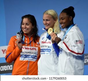 Budapest, Hungary - Jul 30, 2017. MANUEL Simone (USA), SJOSTROM Sarah (SWE) and KROMOWIDJOJO Ranomi (NED) at the Victory Ceremony of the Women 50m Freestyle. FINA Swimming World Championship.