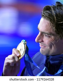 Budapest, Hungary - Jul 30, 2017. Gold medalist LACOURT Camille (FRA) at the Victory Ceremony of the Men 50m Backstroke. FINA Swimming World Championship.