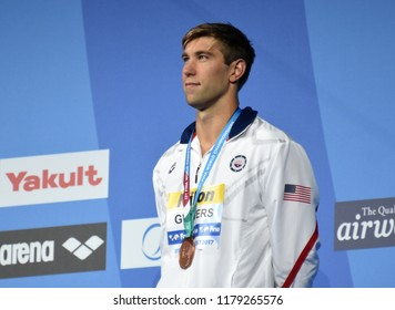 Budapest, Hungary - Jul 30, 2017. Bronze medalist GREVERS Matt (USA) at the Victory Ceremony of the Men 50m Backstroke. FINA Swimming World Championship.