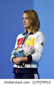 Budapest, Hungary - Jul 30, 2017. Silver medalist BELMONTE Mireia (ESP) at the Victory Ceremony of the Women 400m Individual Medley. FINA Swimming World Championship.