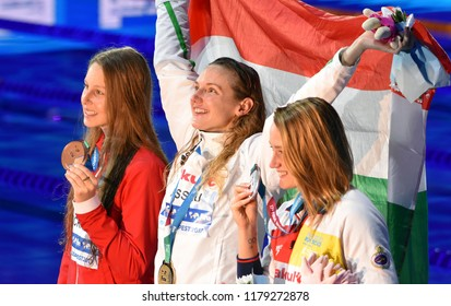 Budapest, Hungary - Jul 30, 2017. BELMONTE Mireia (ESP), HOSSZU Katinka (HUN) and PICKREM Sydney (CAN) at the Victory Ceremony of the Women 400m Individual Medley. FINA Swimming World Championship.